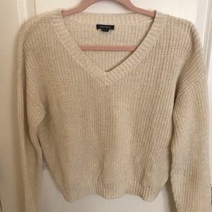 Wild fable white and gold shimmer sweater